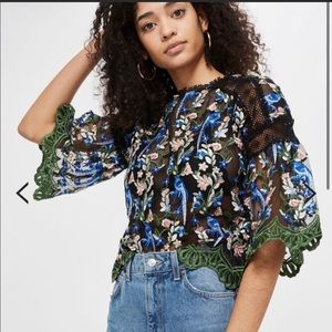 Topshop Embroidered Flowers Top